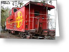 Red Sante Fe Caboose Train . 7D10332 Greeting Card by Wingsdomain Art and Photography
