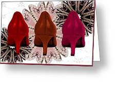 Red Shoes In Shades Of Red Greeting Card by Maralaina Holliday