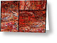 Red Splashes Swishes and Swirls - Abstract Art Greeting Card by Carol Groenen