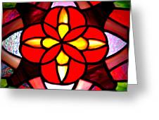 Red Stained Glass Greeting Card by LeeAnn McLaneGoetz McLaneGoetzStudioLLCcom