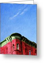 Red Tenement Greeting Card by Peter Salwen