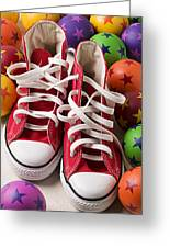 Red Tennis Shoes And Balls Greeting Card by Garry Gay
