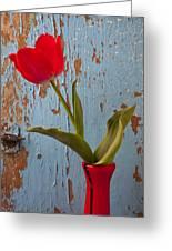 Red Tulip Bending Greeting Card by Garry Gay