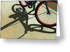Red Wheels - Bicycle Art Oil Painting Greeting Card by Linda Apple