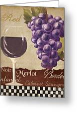 Red Wine Collage Greeting Card by Grace Pullen