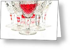 Red Wine Glass Greeting Card by Parinya Kraivuttinun