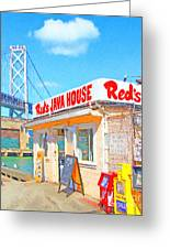 Reds Java House And The Bay Bridge At San Francisco Embarcadero Greeting Card by Wingsdomain Art and Photography