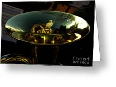 Reflections In Tuba Art   Greeting Card by Steven  Digman