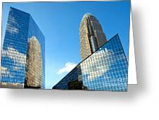 Reflections Of Bank Of America Tower Greeting Card by Patrick Schneider
