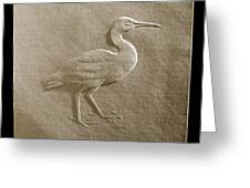 Relief Bird On Paper Greeting Card by Suhas Tavkar