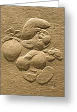 Relief Smurf On Paper Greeting Card by Suhas Tavkar