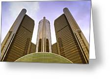 Renaissance Center Greeting Card by Michael Peychich