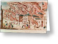 Representation Of The Terrible Fire Of New York Greeting Card by French School