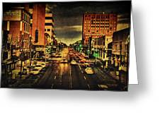 Retro College Avenue Greeting Card by Joel Witmeyer