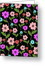 Retro Florals Greeting Card by Louisa Knight