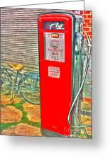 Retro Gas Pump - Color Greeting Card by Dan Stone