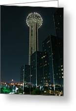 Reunion Tower By Night Greeting Card by John Kain