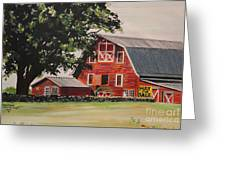 Rhode Island Red Barn Greeting Card by Carolyn Valcourt