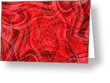 Ribbons Of Red Abstract Greeting Card by Carol Groenen