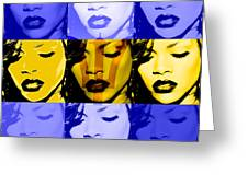 Rihanna Warhol Barbados By Gbs Greeting Card by Anibal Diaz