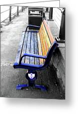 River Bench Greeting Card by Roberto Alamino