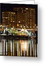 River Front At Night Greeting Card by Frank Pietlock