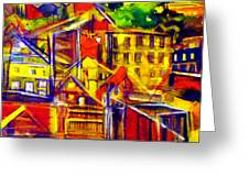 River Town Cincinnati Ohio Greeting Card by Mindy Newman