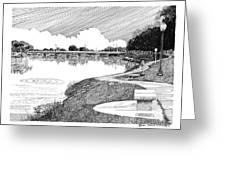 Riverwalk On The Pecos Greeting Card by Jack Pumphrey