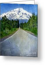 Road Leading To Snow Covered Mount Shasta Greeting Card by Jill Battaglia