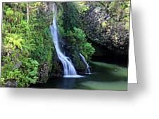 Road To Hana Waterfall Greeting Card by Pierre Leclerc Photography