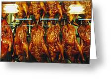 Roasted Ducks And Chickens Greeting Card by Justin Guariglia