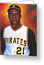 Roberto Clemente Greeting Card by Steve Benton
