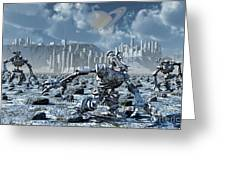Robots Gathering Rich Mineral Deposits Greeting Card by Mark Stevenson