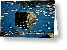 Rock Reflection In Blue Water Greeting Card by Andre Faubert