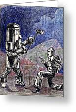 Rocket Man And Robot Greeting Card by Mel Thompson