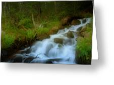 Rocky Mountain Waterfall Greeting Card by Ellen Heaverlo