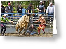 Rodeo Clowns To The Rescue Greeting Card by Sean Griffin