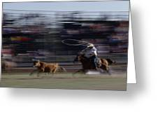 Rodeo Cowboy Trying To Lasso A Running Greeting Card by Chris Johns