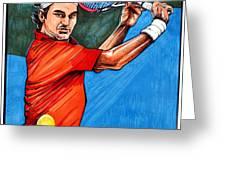 Roger Federer Greeting Card by Dave Olsen