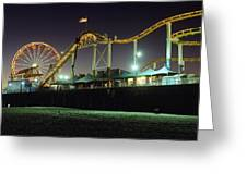 Rollercoaster And Ferris Wheel At Dusk Greeting Card by Axiom Photographic