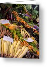 Root Vegetables At The Market Greeting Card by Heather Applegate