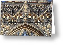 Rose Window - Exterior of St Vitus Cathedral Prague Castle Greeting Card by Christine Till