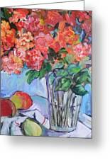 Roses And Peaches Greeting Card by Carol Mangano
