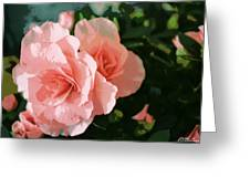 Roses Are Pink Greeting Card by Fern Korn