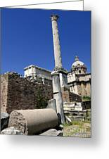 Rostra. Column Of Phocas And Septimius Severus Arch In The Roman Forum. Rome Greeting Card by Bernard Jaubert