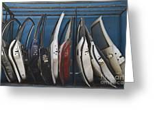 Row of Dismantled Car Doors Greeting Card by Noam Armonn