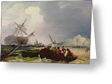 Rowing Boat Going To The Aid Of A Man-o'-war In A Storm Greeting Card by George Chambers