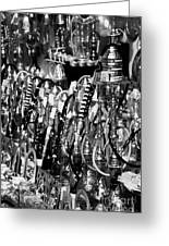 Rows Of Metal Shisha Pipe Arabic Tobacco Smoking Water Pipes On A Stall In The Market In Nabeul  Greeting Card by Joe Fox