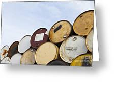Rows Of Stacked Barrels Greeting Card by Paul Edmondson