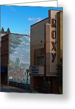 Roxy Theater And Mural Greeting Card by Ed Gleichman